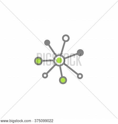 Hub Network Connection Line Icon Isolated On White. System Or Technology Logo.