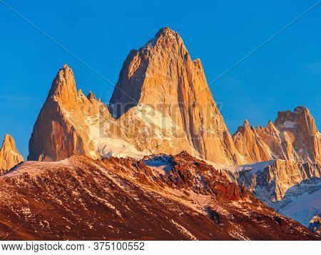 Fitz Roy Close Up Sunrise View. Fitz Roy Is A Mountain Located Near El Chalten, In The Southern Pata