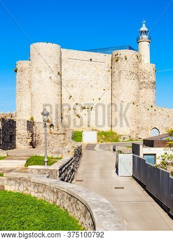 Santa Ana Castle Or Castillo De Santa Ana And Lighthouse In Castro Urdiales, Small City In Cantabria