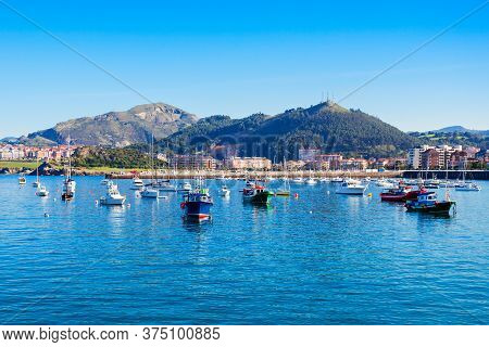 Boats At The Port Of Castro Urdiales. Castro Urdiales Is A Small City In Cantabria Region In Norther