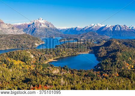 Nahuel Huapi National Park Panoramic View From Cerro Campanario Viewpoint In Bariloche, Patagonia Re