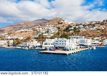 The Port Of Ios At The Head Of Ormos Harbor, Ios Island, Cyclades In Greece