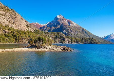 Beauty Lake And Mountains Landscape In Nahuel Huapi National Park, Located Near Bariloche, Patagonia