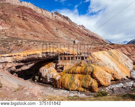 The Incas Bridge Or Puente Del Inca In Argentina. Inca Bridge Is A Natural Arch That Forms A Bridge