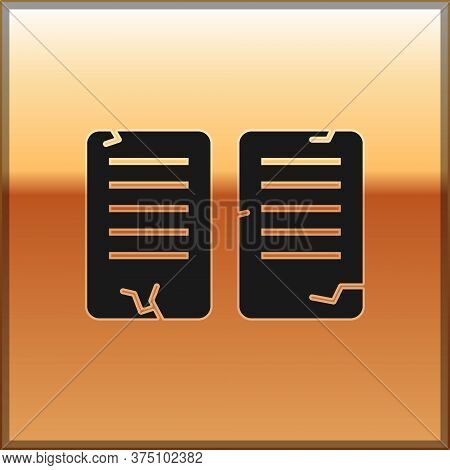 Black The Commandments Icon Isolated On Gold Background. Gods Law Concept. Vector Illustration