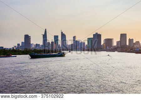 Ho Chi Minh City Skyline Aerial Panoramic View At Sunset. Ho Chi Minh Is The Largest City In Vietnam