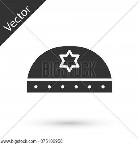 Grey Jewish Kippah With Star Of David Icon Isolated On White Background. Jewish Yarmulke Hat. Vector