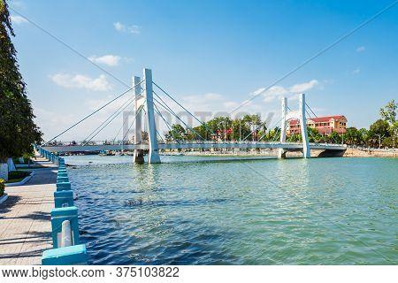 Cau Le Hong Phong Bridge And Water Tower In Phan Thiet City Near Mui Ne In Vietnam