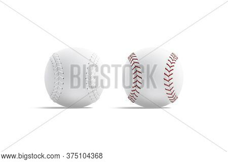 Blank White Baseball Ball With Red Seam Mockup, Front View, 3d Rendering. Empty Pitch Fastball For N