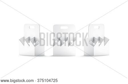 Blank White Cardboard Bottle Holder Mockup, Front And Side View, 3d Rendering. Empty Folding Sixpack