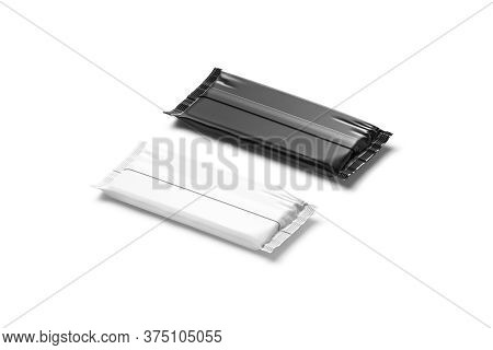 Blank Black And White Chocolate Bar Foil Wrap Mockup, Back Side View, 3d Rendering. Empty Rectangula