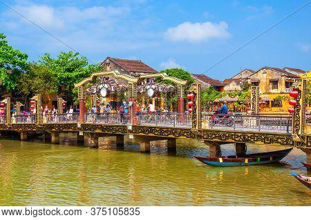 Cau An Hoi Bridge In The Hoi An Ancient Town In Quang Nam Province Of Vietnam