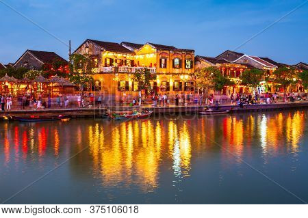Fishing Boats At The Riverfront Of Hoi An Ancient Town In Quang Nam Province Of Vietnam