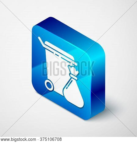 Isometric Trash Can And Garbage Bag Icon Isolated On Grey Background. Garbage Bin Sign. Recycle Bask