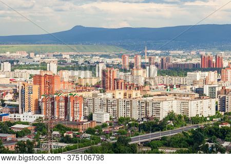 Krasnoyarsk City Aerial Panoramic View From Karaulnaya Mountain Viewpoint In Krasnoyarsk, Russia