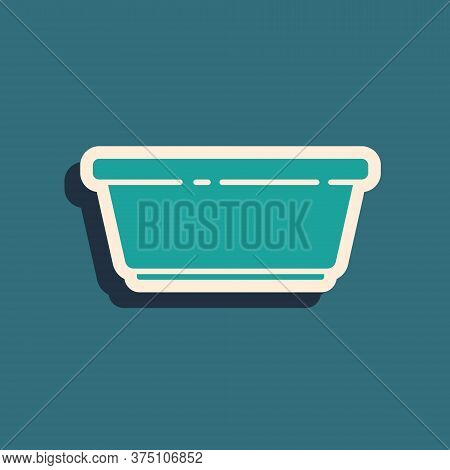 Green Plastic Basin Icon Isolated On Green Background. Bowl With Water. Washing Clothes, Cleaning Eq