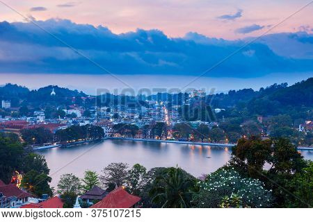 Kandy Lake And Kandy City Aerial Panoramic View From Arthur Seat Kandy City Viewpoint, Sri Lanka