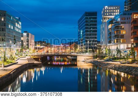 Oslo, Norway - June 25, 2019: Night View Embankment And Residential Multi-storey House In Gamle Oslo
