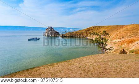 Baikal Lake Near Khuzhir Village At Olkhon Island In Siberia, Russia. Lake Baikal Is The Largest Fre