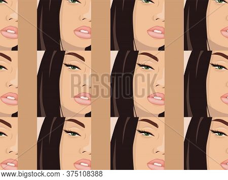 Young And Beautiful Girl With Eye Arrows And Rose Color Lips Looking Glamorously. Close-up. Pattern
