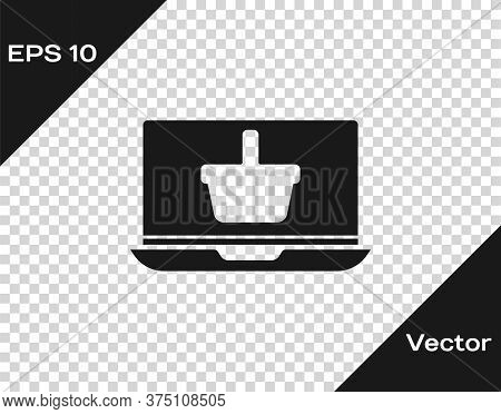 Black Shopping Basket On Screen Laptop Icon Isolated On Transparent Background. Concept E-commerce,