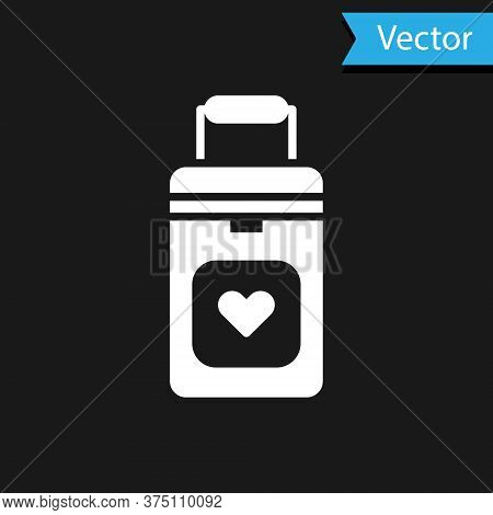 White Cooler Box For Human Organs Transportation Icon Isolated On Black Background. Organ Transplant