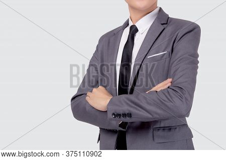 Closeup Portrait Businessman In Suit With Crossed His Arms Standing Isolated On White Background, Yo