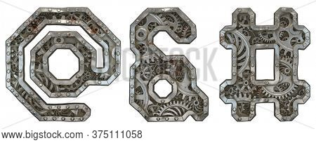 Mechanical alphabet made from rivet metal with gears on white background. Set of symbols at, ampersand and hash. 3D rendering