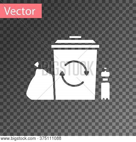 White Recycle Bin With Recycle Symbol Icon Isolated On Transparent Background. Trash Can Icon. Garba
