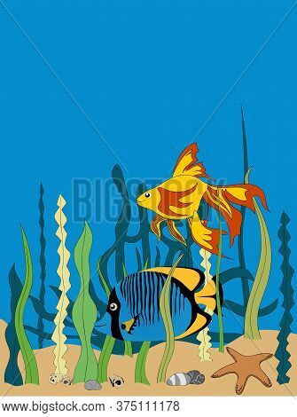 Hand Drawn Illustration Of Two Tropical Fishes Cartoons Style Swimming Underwater With Sea Vegetatio
