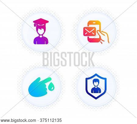 Messenger Mail, Blood Donation And Student Icons Simple Set. Button With Halftone Dots. Security Age