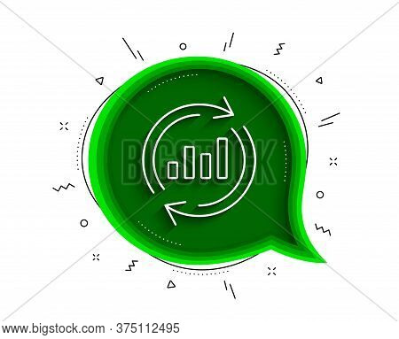 Chart Line Icon. Chat Bubble With Shadow. Update Report Graph Or Sales Growth Sign. Analysis And Sta