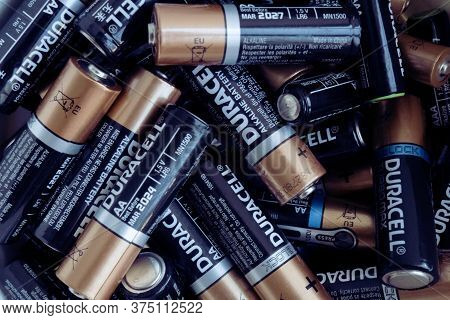 Kiev, Urkaine, 16 June 2020, Closeup At Pile Of Duracell Aa Alkaline Batteries.