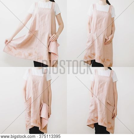 Catalog Of Kitchen Linen Apron On A Female Model,  Front View, Three Quarters And Back, Isolated On