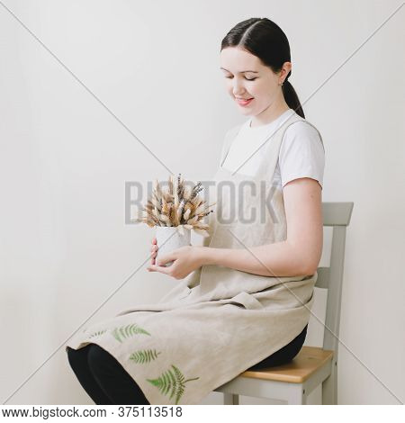Young Woman In Cooking Linen Apron. Kitchen Textile. Clean Natural Fabric Apron. Food Blogger Concep