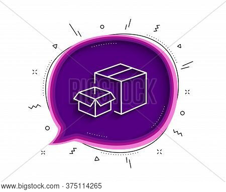 Packing Boxes Line Icon. Chat Bubble With Shadow. Delivery Parcel Sign. Cargo Box Symbol. Thin Line