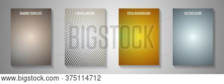 Minimal Circle Faded Screen Tone Front Page Templates Vector Batch. Medical Booklet Perforated Scree