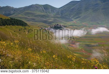 Aerial View Of Summer Landscape At Piano Grande (great Plain) Mountain Plateau In The Apennine Mount