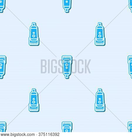 Blue Line Electrical Hair Clipper Or Shaver Icon Isolated Seamless Pattern On Grey Background. Barbe