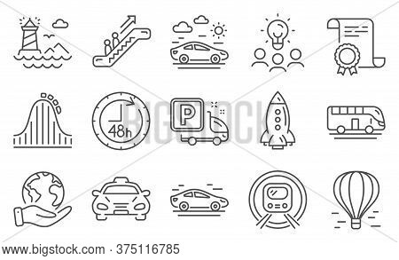 Set Of Transportation Icons Such As Bus Tour, Car, Lighthouse. Diploma, Ideas, Save Planet. Metro Su