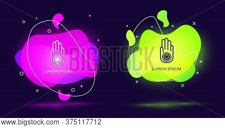 Line Symbol Of Jainism Or Jain Dharma Icon Isolated On Black Background. Religious Sign. Symbol Of A