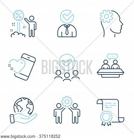 Employees Talk, Vacancy And Discount Line Icons Set. Diploma Certificate, Save Planet, Group Of Peop