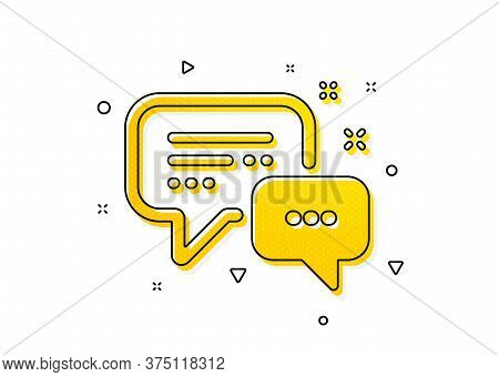 Speech Bubble Sign. Employees Messenger Icon. Chat Message Symbol. Yellow Circles Pattern. Classic E