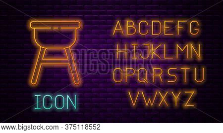 Glowing Neon Line Barbecue Grill Icon Isolated On Brick Wall Background. Bbq Grill Party. Neon Light