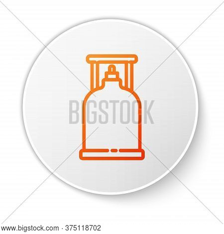 Orange Line Camping Gas Stove Icon Isolated On White Background. Portable Gas Burner. Hiking, Campin