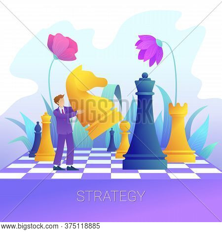 Businessman With Chess Pieces Business Strategy Concept. Concept Of Business Strategy Strategic Plan