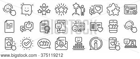 Set Of User Opinion, Customer Service And Star Rating Icons. Feedback Line Icons. Testimonial, Posit