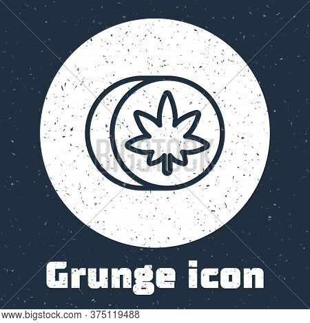 Grunge Line Herbal Ecstasy Tablets Icon Isolated On Grey Background. Monochrome Vintage Drawing. Vec