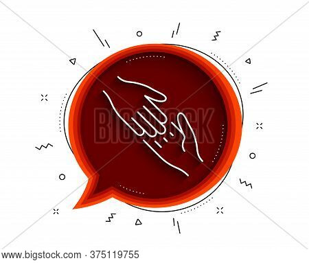 Helping Hand Line Icon. Chat Bubble With Shadow. Give Gesture Sign. Charity Palm Symbol. Thin Line H
