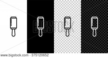 Set Line Adhesive Roller For Cleaning Clothes Icon Isolated On Black And White Background. Getting R